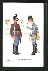 Künstler-AK Fritz Schönpflug: Soldat salutiert vor Vorgesetztem, Ein verlorener Posten