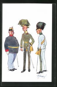 Künstler-AK Fritz Schönpflug: drei Soldaten in unterschiedlichen Uniformen mit Hüten