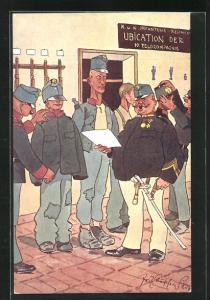 Künstler-AK Fritz Schönpflug: dicker Soldat liest vor, Einkleidung der Soldaten, Ubication der Feldcompagnie