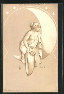 Lithographie Lura, Sichelmond und weiblicher Akt, Halt gegen das Licht
