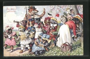 AK vermenschlichte Tiere & Hund beim Maifestzug