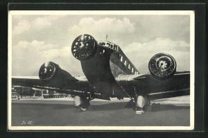 AK Flugzeug Junker JU 52 auf der Startbahn
