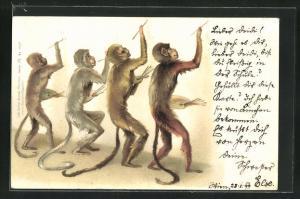 AK vermenschlichte Affen beim zeichnen