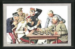 Künstler-AK Theo Zasche: Soldaten beim Schach Spiel
