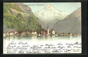 AK Künzli Nr. 5021, Fluelen am Urnersee, Ortsansicht mit Bristenstock (St. Gotthard), Berg mit Gesicht / Berggesichter