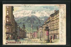 Lithographie Innsbruck, Maria Theresia Strasse, Halt gegen das Licht