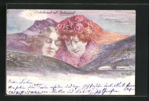 Künstler-AK Fritz Hass: Killinger Nr. 155, Nebelwand & Rotwand, Berg mit Gesicht / Berggesichter