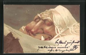 Künstler-AK Killinger Nr. 108, Der weisse Zahn, Berg mit Gesicht / Berggesichter