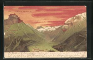 Künstler-AK Killinger Nr. 101, Titlis, er träumt von einer Palme, Berg mit Gesicht / Berggesichter
