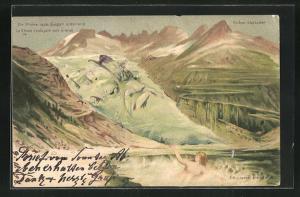Künstler-AK Killinger Nr. 120, Die Rhone nach Süden entlang ziehend, Berg mit Gesicht / Berggesichter
