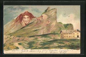 Künstler-AK Killinger Nr. 118, Gemmipass, Ein alter Schwerenöther, Berg mit Gesicht / Berggesichter