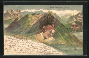 Künstler-AK Killinger Nr. 107, Die Rigi, Berg mit Gesicht / Berggesichter