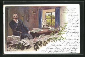 Künstler-AK E. Döcker: Portrait Rosegger mit Zeitungen
