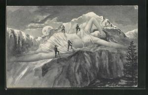 AK Bergsteiger beim aufstieg, Berg mit Gesicht / Berggesichter