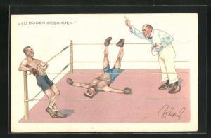 Künstler-AK Fritz Schönpflug: Boxer ist zu Boden gegangen