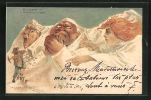 Künstler-AK Killinger Nr. 112: Eiger, Mönch und Jungfrau und Eisenbahnbauer, Berg mit Gesicht / Berggesichter