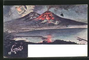 Künstler-AK Napoli, rauchender Vesuv bei Nacht, Berg mit Gesicht / Berggesichter