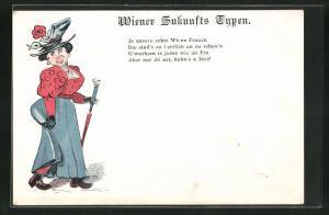 AK Wiener Zukunfts Typen, Elegante Wiener Frau mit Hut