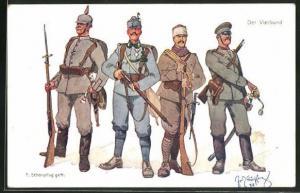Künstler-AK Fritz Schönpflug: Der Vierbund, Soldaten der Türkei, Deutschlands und Österreichs