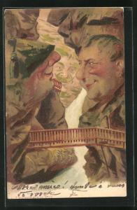 Künstler-AK Killinger Nr. 119: Gornerschlucht, Die Gemüthchen, Berg mit Gesicht / Berggesichter