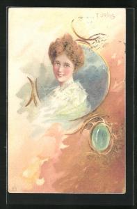 Lithographie Portrait einer hübschen Frau, Schmuckstück mit Türkis, Jugendstil