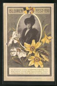 AK Blumenfest 1911 zu Gunsten eines Krüppelheims, Unter dem Protektorat der Gräfin von Wedel