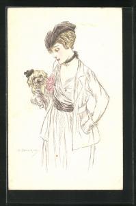 Künstler-AK A. Zandrino: Elegante Dame mit ihrem Hündchen im Arm