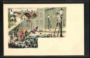 Lithographie Scherz, Strassenbau in Stadt, Menschen stolpern u. fallen in Löcher, Gaslaternenanzünder, Hintereinödsdorf
