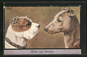 Künstler-AK Bulldogge Schnauze an Schnauze mit anderem Hund, Müller und Schultze