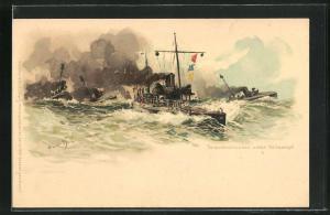 Künstler-AK Hans Bohrdt: Kriegsschiffe und Torpedodivision unter Volldampf