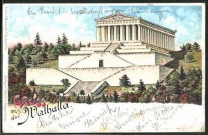 AK Walhalla, Tempel Anlage auf Berghang