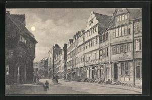 AK Frankfurt a. M., Die Judengasse bei Mondschein, Synagoge