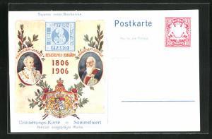 AK Ganzsache Bayern, Regierungs-Jubiläum 1806-1906, Maximilian-Joseph, Prinzregent Luitpold, Wappen