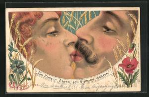 AK Gesicht, Mann und Frau küssen sich, Getreide, Kornblumen, Ein Kuss in Ähren, soll Niemand wehren