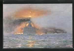 Künstler-AK Hans Bohrdt: Kriegsschiffe, Nebelfahrt im Verbande