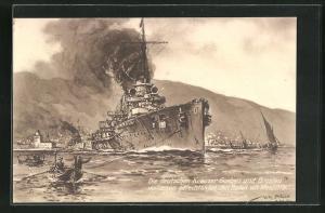 Künstler-AK Willy Stoewer: Die deutschen Kreuzer Goeben und Breslau verlassen gefechtsklar den Hafen von Messina