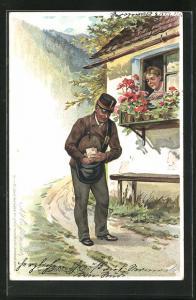Künstler-AK E. Döcker: Briefträger vor dem Fenster einer Frau