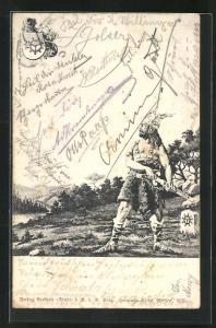 Lithographie Germane mit Flügelhelm und Schwert