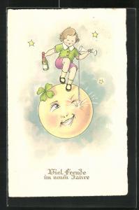 AK Kind mit Sektflasche auf dem Mond, Neujahrsgruss