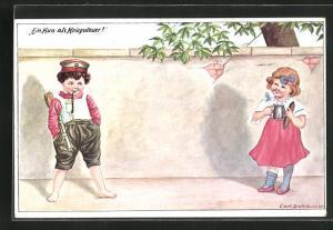 Künstler-AK Carl Diehl: Ein Kuss als Kriegssteuer, Soldatenjunge mit Pfeife u. Gewehr u. Mädchen mit Kanne