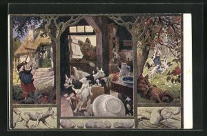 AK Der Wolf und die 7 Geisslein, Geiss, Wolf an der Haustür, Wolf liegt unterm Baum