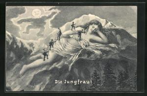 AK Bergsteiger besteigen die Jungfrau im Mondschein, Mond als Wächter schaut grimmig, Berggesichter