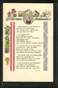 AK Lied: O du mein Österreich!, Portrait Frau mit Blume, Berge, Alpenblumen u. Weintrauben