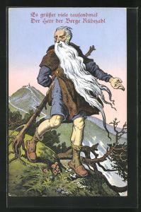 AK Es grüsset viele tausenmal, Der Herr der Berge Rübezahl, Rübezahl mit langem Bart u. Stock