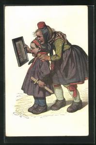 Künstler-AK Emil Beithan: Hessische Trachten, Kinder