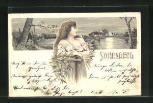 Künstler-Lithographie H. Fründt: Sonnabend, hübsche Frau blickt verträumt auf einen Ort