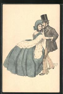 Künstler-AK Simplicissimus: Herr mit Zylinder hält die junge Frau im Arm