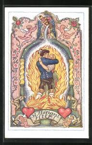 AK Deutscher Schulverein Nr.1261:St. Florian hilft, Küssendes Pärchen vor den Flammen