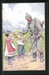 Künstler-AK Karl Feiertag: Liebesgabe, Junge und Mädchen übergeben dem Soldaten Blumen