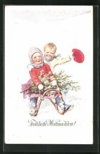 Künstler-AK Karl Feiertag: Fröhliche Weihnachten, Junge Mädchen auf dem Schlitten fahren den Abhang hinunter